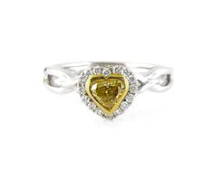 An White and Yellow Gold, Fancy Yellow Heart Shaped Diamond Halo Ring Heart Shaped Diamond, Halo Diamond, Diamond Rings, Diamond Engagement Rings, Halo Rings, Vintage Rings, Colored Diamonds, Heart Shapes, Jewelry Collection