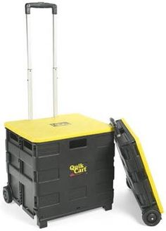"Quik Cart - Collapsible Shopping Cart (Black/Yellow) (4""H x 18""W x 18""D collapsed)"