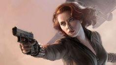 Scarlett Johansson, en mini falda, tacones, medias y escote ¿qué más le podemos pedir a lla vida? Ah sí, luchando contra tres tipos.