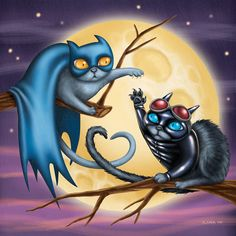 Batcat and Catwoman  8x8 art print  Batman cat and Robin cat by GeekyPet on Etsy.