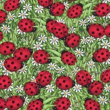 LADYBUGS & DAISIES IN GRASS Cotton Fabric BTY Quilting, Craft Etc