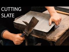 Demonstrating how I cut and shape roofing slate tiles. I discuss a slate knife (or slater's knife) versus a hammer. I'm cutting and shaping roofing slate in .