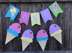 Cake smash banner. ONE banner. Ice cream first birthday. High