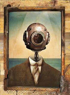 Old diver helmet deep sea scuba digital art 24x18 by stoltzdesign, $15.00