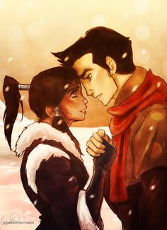 """by serenakenobi: Makorra - Book 2. A reversal of the good luck hand-clasp from """"The Revelation."""" This time, it's Mako telling Korra good luck, but of course, with a little something else added to the hand-clasp. Namely, a kiss. ;)"""