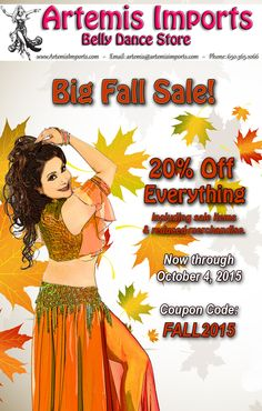 Artemis Imports Belly Dance Store Get Your Coupon Code Inside - Big Fall Sale http://www.artemisimports.com Use Coupon Code: FALL2015