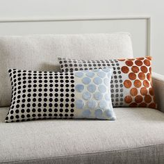 Jacquard Velvet Dot Combo Pillow Cover - Copper Rust #westelm