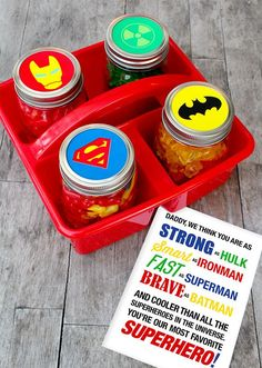 Easy Father's Day superhero gift with free printable featuring Marvel and DC