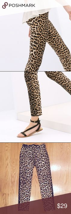 ZARA Woman Leopard Print Trousers Like new leopard print pants, skinny leg, stretchy and very flattering, elastic waistband side zip for a flat fitting front and back. Zara Pants Skinny