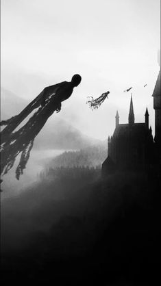 Lockscreen - Harry Potter - HP - Dementadores - Movie - Black and White Harry Potter Tumblr, Arte Do Harry Potter, Harry Potter Drawings, Harry Potter Deathly Hallows, Harry Potter Universal, Harry Potter Movies, Harry Potter Hogwarts, Harry Potter World, Harry Potter Voldemort