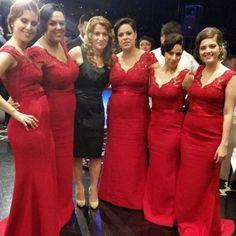 Long Red Lace Bridesmaid Dresses V Neck Cap Sleeves Mermaid Bridesmaid Dress