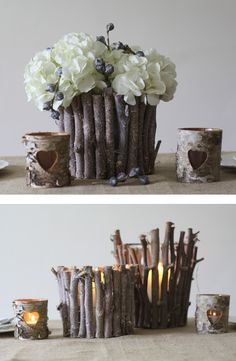 Rustic wedding ideas. Twig vases for wedding centrepieces #wedding #vase www.theweddingofmydreams.co.uk