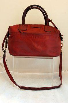f2912a5b370c2 FRYE Jenny Satchel Burnt Red Braided Shoulder Strap Handles Pull Orig  458   Frye… SusieandScout · Vintage Estate Handbags