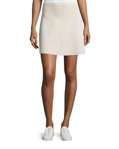 Teslia J Glossed Printed Skirt, Ivory Mix - Theory