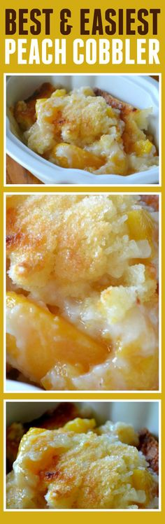This peach cobbler recipe is the best and easiest recipe I have ever made. It doesn't hurt that it tastes super yum especially when topped with a little vanilla bean ice cream. <--- for the hubby, he loves peach cobbler! 13 Desserts, Southern Desserts, Brownie Desserts, Dessert Recipes, Pudding Desserts, Chocolate Cheesecake, Weight Watcher Desserts, Peach Cobblers, Bolo Cake