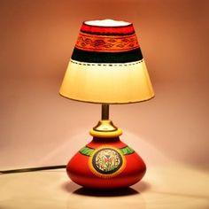 11 Inch Terracotta Handpainted Warli Flat Lamp In Red