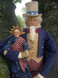 PRIMITIVE FOLK ART UNCLE SAM & LIBERTY AMERICANA PATRIOTIC DOLL SET By Nothing Plain By jane..She's one of my fav doll makers..love her!!