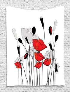 Blooming Flowers Poppy Poppies Floral Decor Bouquet Garden Branches Carnation Clove Blossom Lovely Buds Wall Hanging Tapestry Living Room Bedroom Dorm Decor Black Red and White >>> Read more reviews of the product by visiting the link on the image.