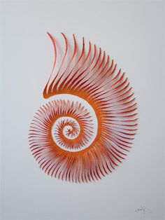 Sea Spiral by Meredith Woolnough Embroidery thread and pins on paper