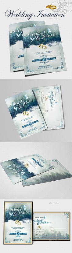 #Wedding Invitation Card - Weddings #Cards & #Invites Download here:  https://graphicriver.net/item/wedding-invitation-card/20294237?ref=alena994