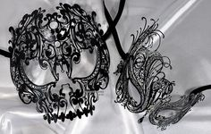 Lovers Men and Women Couple metal laser cut Masquerade Masks: This listing is for    1 x Skull men and 1 x Swan women masks    -- Beautiful design and