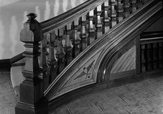 State Lunatic Asylum (Buffalo State Hospital), Buffalo New York May 1965, DETAIL OF MAIN STAIRCASE AND NEWEL POST, ADMINISTRATION BUILDING