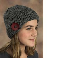 encore mega button hat.  free pattern.  love these big 'ol buttons!