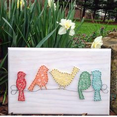 Birds on a wire string art sign by my2heARTstrings on Etsy https://www.etsy.com/listing/251673860/birds-on-a-wire-string-art-sign