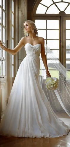 A-line Pleated Crystals Empire Sweetheart Lace-up Court Train Appliques Sleeveless Wedding Dress  #wedding #dress #love