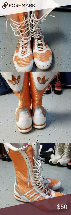 Ladies Adidas sport boots size 7 Awesome Adidas boots worn couple of times only. In great shape- size 7 white and orange adidas Shoes Athletic Shoes