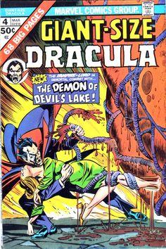 "Giant-Size Dracula # ""Let It Bleed!"" (March, Cover by Gil Kane & Tom Palmer. Sci Fi Comics, Old Comics, Horror Comics, Marvel Comic Books, Vintage Comics, Marvel Dc Comics, Comic Books Art, Comic Art, Horror Art"