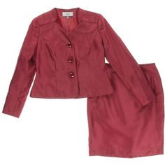 Le Suit 1925 Womens Red Collarless 2PC Long Sleeves Skirt Suit Petites 12P BHFO  | eBay