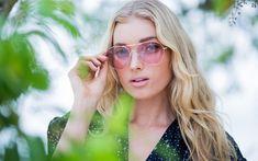 Download wallpapers Elsa Hosk, Swedish top model, portrait, blonde, rose-colored glasses, fashion model
