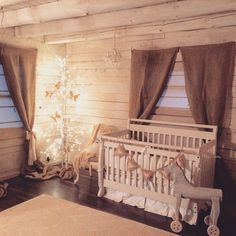 This Cozy Cabin Nursery is rustic and shabby chic - LOVE!