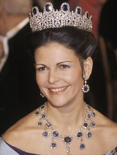 Queen Silvia, Queen consort of King Carl XVI Gustaf, wearing the Leuchtenberg Sapphire Tiara, Sweden (ca. 1806; made by Marie-Étienne Nitot; sapphires, diamonds).