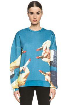 MSGM|x Toilet Paper Hands & Lipstick Cotton Sweatshirt in Blue [1] $476
