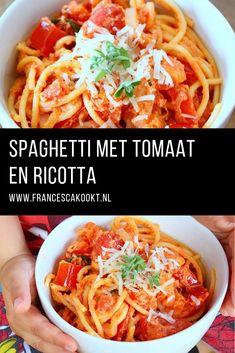 Recept makkelijke vegetarische spaghetti met tomaat en ricotta. Deze zet je snel op tafel en kinderen zijn er gek op.#pasta #vegetarisch #fransescakookt