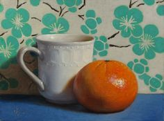 """White Cup with Tangerine, Blue and Turquoise"" original fine art by Debra Becks Cooper"