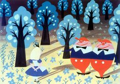 Mary Blair tweedles. Trees on black background with stark shadows and black trunks is nice.