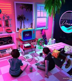 vaporwave black Those days. Check o - vaporwave New Retro Wave, Retro Waves, Neon Aesthetic, Aesthetic Rooms, Aesthetic Pastel Wallpaper, Aesthetic Wallpapers, Game Room Kids, Video Game Posters, Images Esthétiques