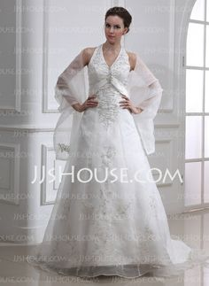 Wedding Dresses - $186.99 - A-Line/Princess Halter Court Train Organza Satin Wedding Dress With Embroidery Beadwork (002000283) http://jjshouse.com/A-Line-Princess-Halter-Court-Train-Organza-Satin-Wedding-Dress-With-Embroidery-Beadwork-002000283-g283