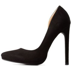 Charlotte Russe Black D'Orsay Pointed Toe Pumps by Charlotte Russe at... ($33) ❤ liked on Polyvore