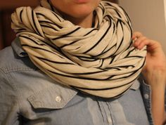 Black and Cream Jersey Knit Infinity Scarf Double or SIngle Loop. $19.00, via Etsy.