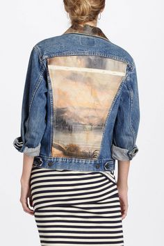 DIY painting jean jacket.  Find an old canvas painting at a flea market, cut it to size and sew it to a jean jacket...for a lot less than $388.
