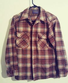 Details about Pendleton Vintage Men s Virgin Wool Flannel Shirt Size M Red  EUC a59404727