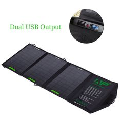 12W Dual Output 5V Cell Phone Portable Foldable Solar Charger Power Bag External Outdoor Battery Pan