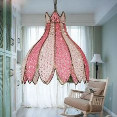 Lotus Tiffany Pendant Lamp Modern Brief Glass Dining Room Suspension Hanging Light Bedroom Pendant Lamp