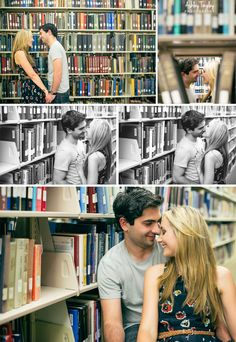 adorable library engagement photo shoot / Ashley Tingley Photography