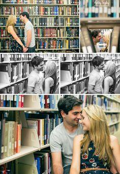 adorable library engagement photo shoot / Ashley Tingley Photography