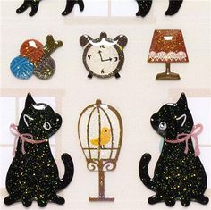 kawaii glitter Epoxy stickers with cats & balls of wool